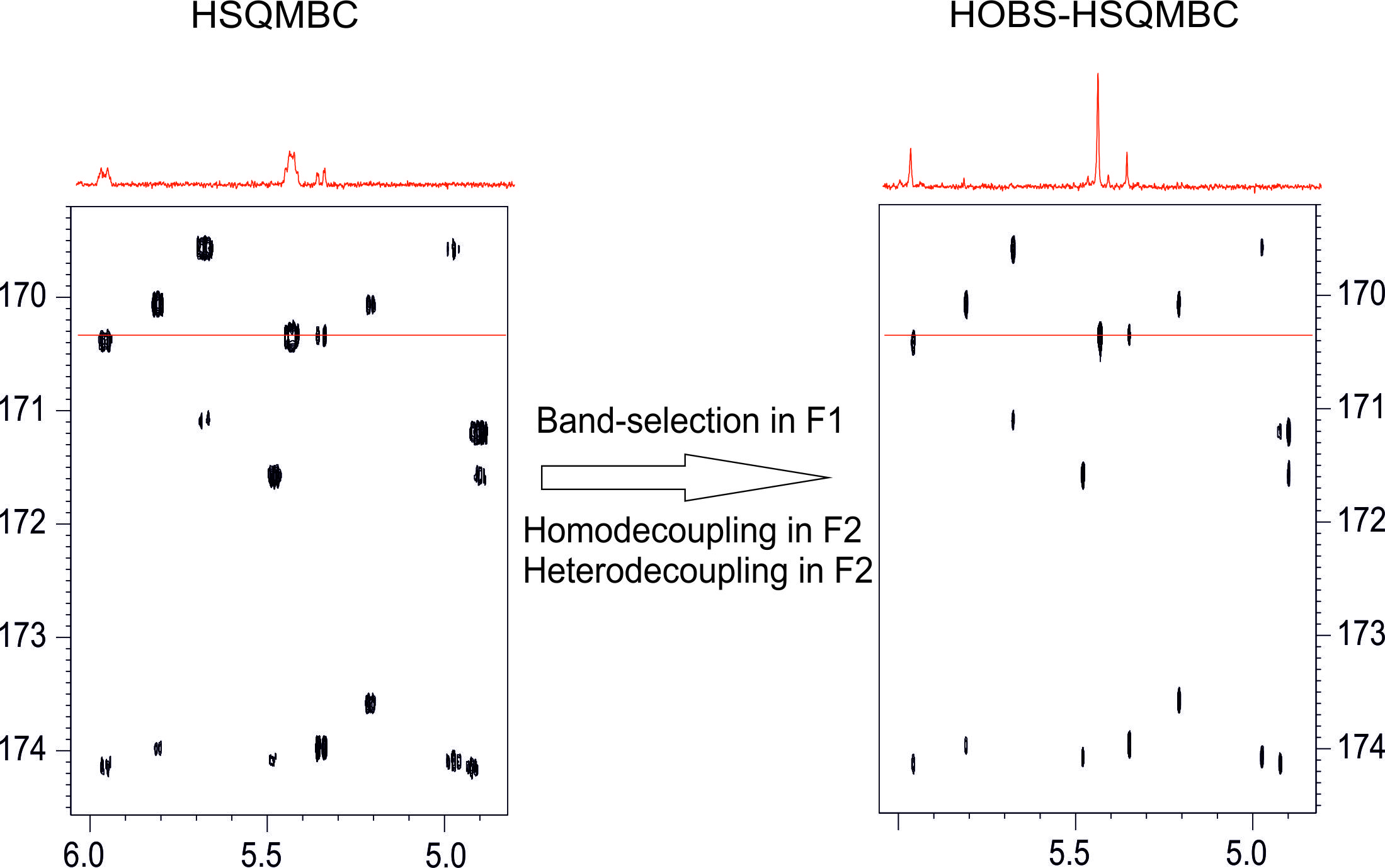 Implementing homo- and heterodecoupling in region-selective HSQMBC experiments