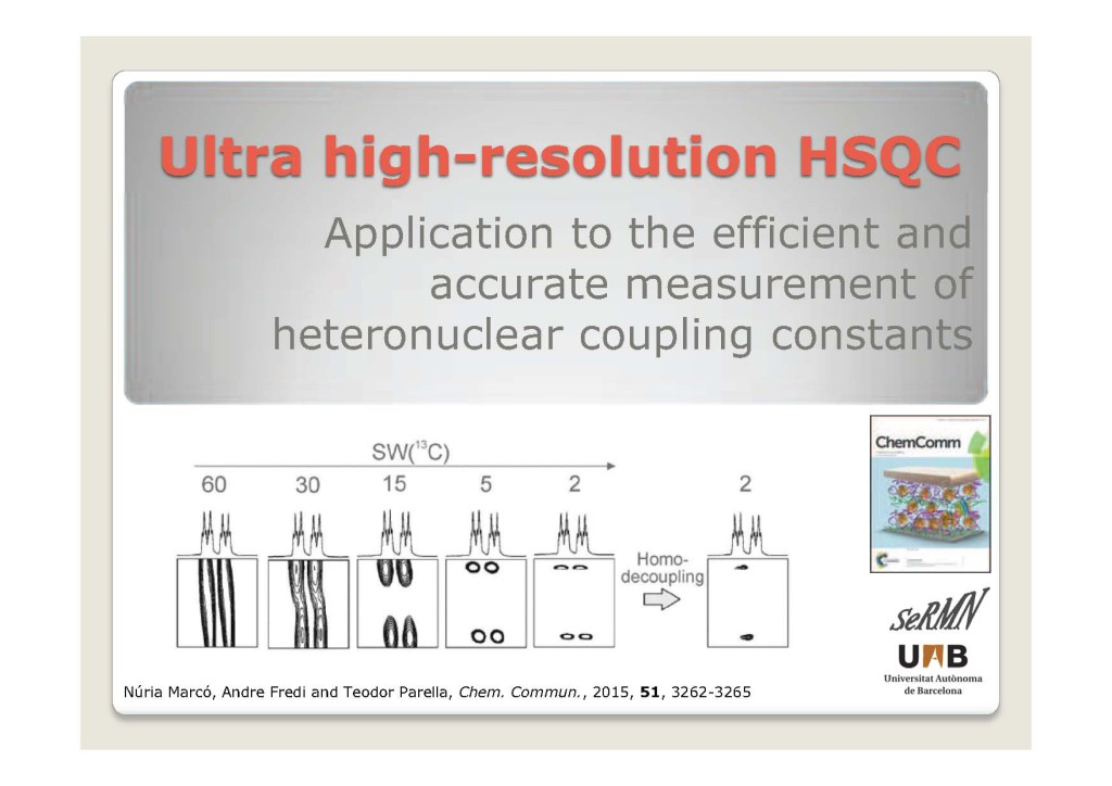 Ultra HIgh Resolved HSQCportada