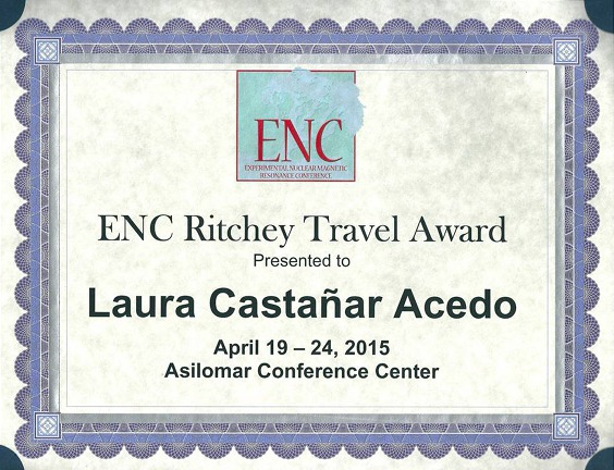 ENC Ritchey Travel Award to Laura Castañar at the 56th ENC held in Asilomar from 19th to 24th April 2015.